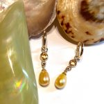 Marvelous Golden Yellow Sapphire and Pearl Drops in 14K, Graceful Handmade Ear Decor