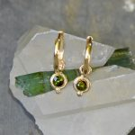 Marvelous Green Tourmaline Removable Charms in Solid 14k Gold on Hoops