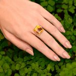 Marvelous Montana Agate Square Cabochon 2 Dot Ring in 14K Gold