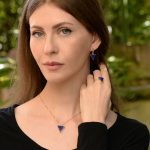 Modern Triangle Lapis and Diamond Classic in 14K Yellow Gold