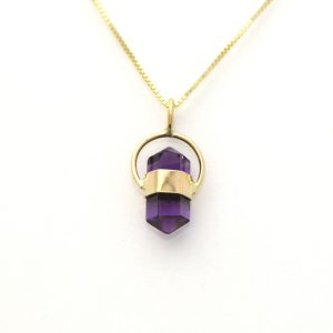 Natural Amethyst Spiritual Crystal Pendant Surrounded in 14K Solid Yellow Gold Itty Bitty Handmade Charm