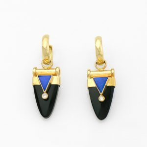 One and Only Black Jade Drops with Blue Opal and Diamonds on 14K Gold Hoops, Art Deco Style