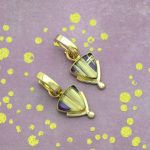 One of a Kind Unusual Rutilated Quartz and Purple Sugilite Composite Earrings in 14K Gold