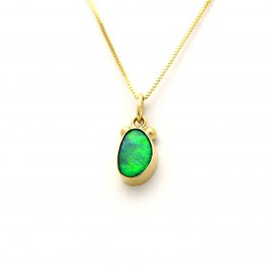 Opal Vivid Holographic Green Charm Pendant Handmade in 14K Solid Gold, Little and Dreamy and Real!