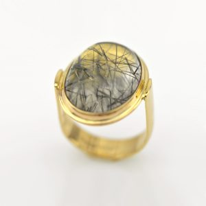Outstanding Black Tourmalinated Quartz Statement Ring in 14K Gold