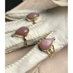 Peachy Pink Moonstone Cabochon and Diamond Statement Ring set in 14K Yellow Gold Handmade OOAK