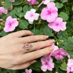 Perfectly Pink Tourmaline Trinity Ring in 14K Solid Gold with Diamond Accents Handmade Statement Ring