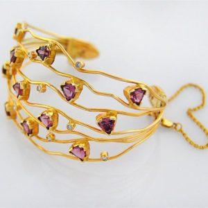 Pink Garnet Trillions & Diamond Bracelet in 18K Gold SASA's ASTOUNDING Wave Bracelet  Fine Handmade Jewelry