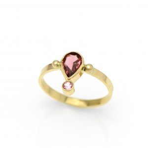 Pink Tourmalines in 14K Solid Gold Stackable Beloved Handmade Statement Ring