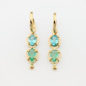 Priceless Natural Emerald and Neon Blue Apatite Ear Art in 14K Gold on Removable Hoops