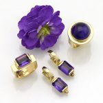 Purple Amethyst Stirrup Band Ring in 14K Yellow Gold