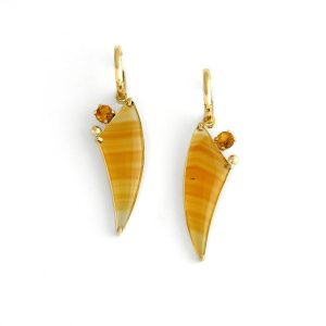 Quirky Banded Agate and Citrines in 14K Gold, Unique Fine Handmade Jewelry