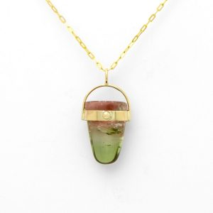 Radiant Bi-Color Tourmaline Bullet Pendant Lucious Pink And Vibrant Green In 14k Natural And Perfect For Layering