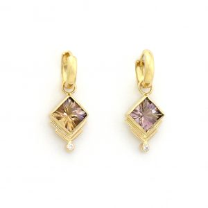 Shimmering and Brilliant!  Uniquely Faceted Ametrine with Diamonds on Luscious 14k Gold Hoops
