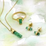 Single Raw Emerald Crystal Stud Earring Wrapped in a Handcrafted Ribbon of 14k Solid Gold- Tiny and Bright