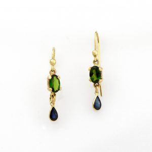 Special Blue Sapphire and Chrome Diopside Dangle Hook Earrings in 14K Gold