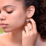 Spotted Montana Agate Triangle-esque Earring Jackets and Hoops in 14K