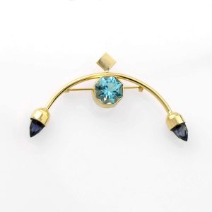 Swiss Blue Topaz and Iolite Brooch in 14K Gold Fine Handmade Jewelry Art Deco Style Pin