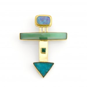 The Ultimate Brooch. Opal, Chrysoprase, Emerald, and Druzy Chrysocolla set in 14K Gold Fine Handmade Jewelry Brooch Pin
